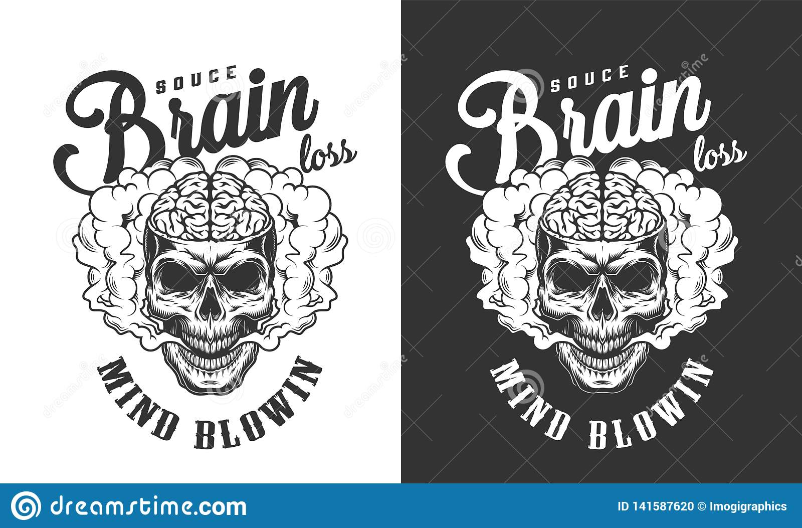 Skull With Human Brain Label Stock Vector Illustration Of