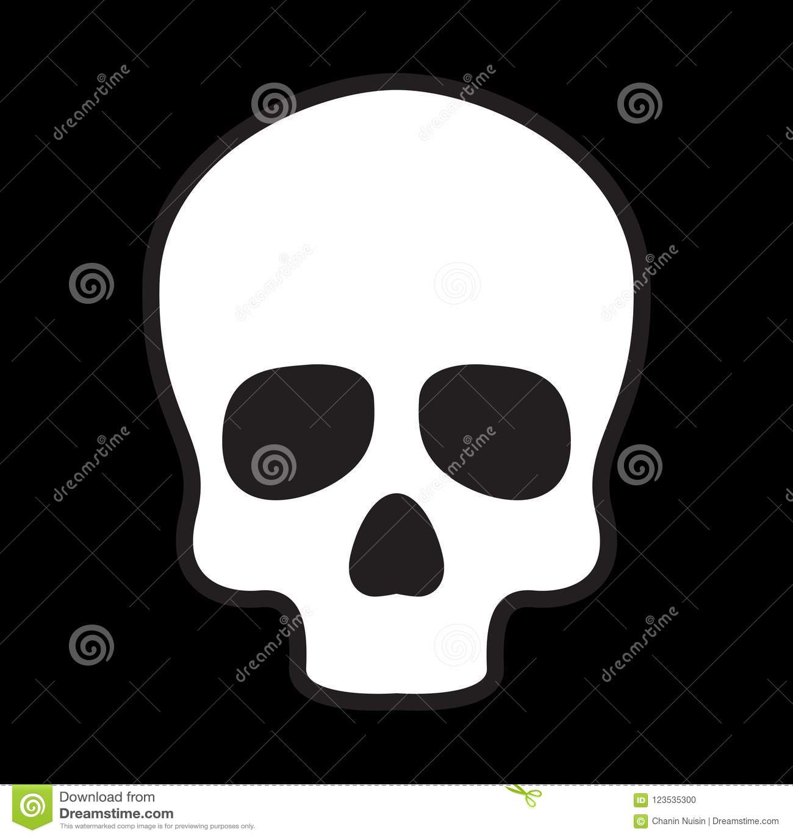 Skull Icon Logo Bone Halloween Illustration Character Black Stock