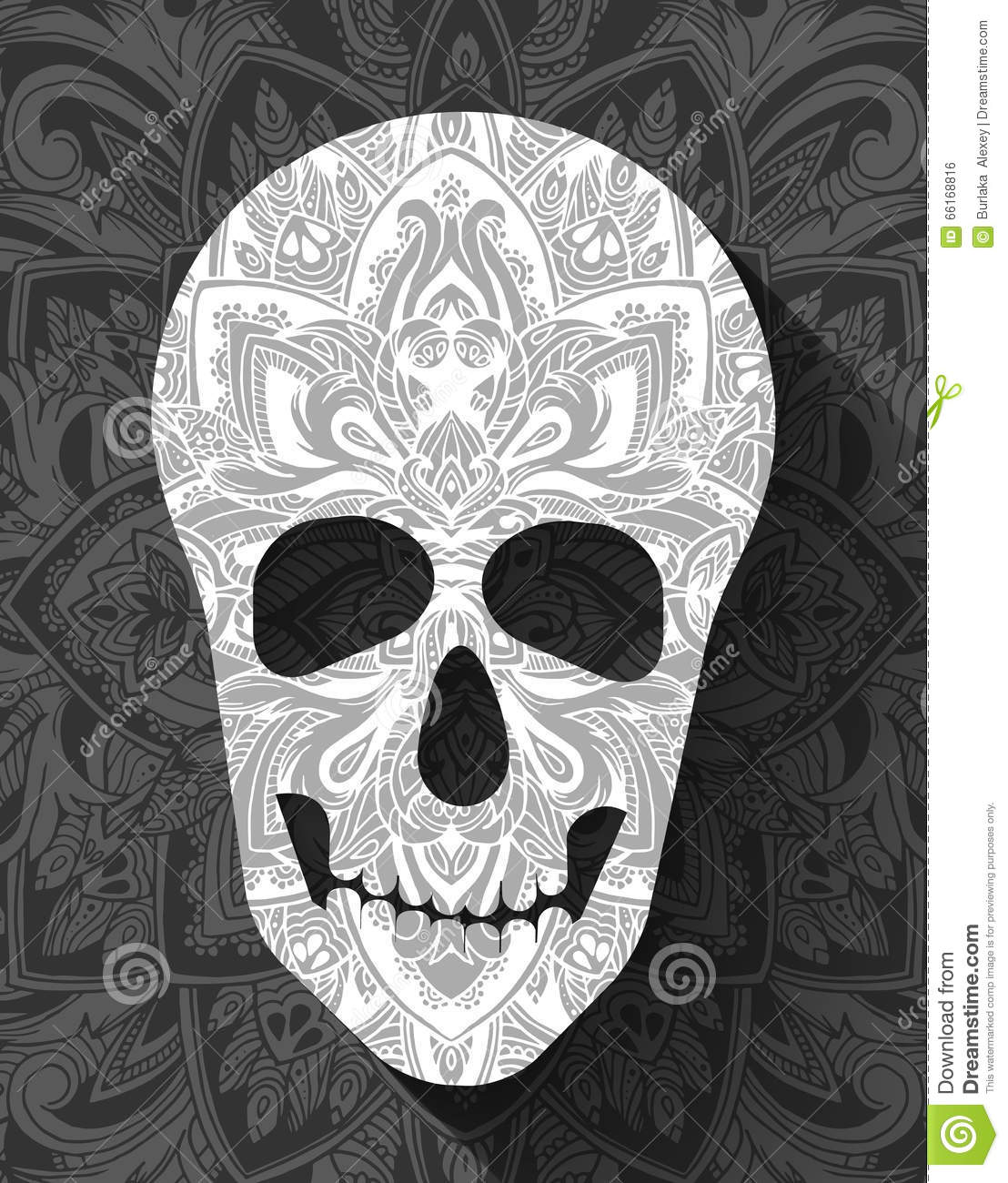 Skull For The Illustrations Concept On Day Of The Dead Vector