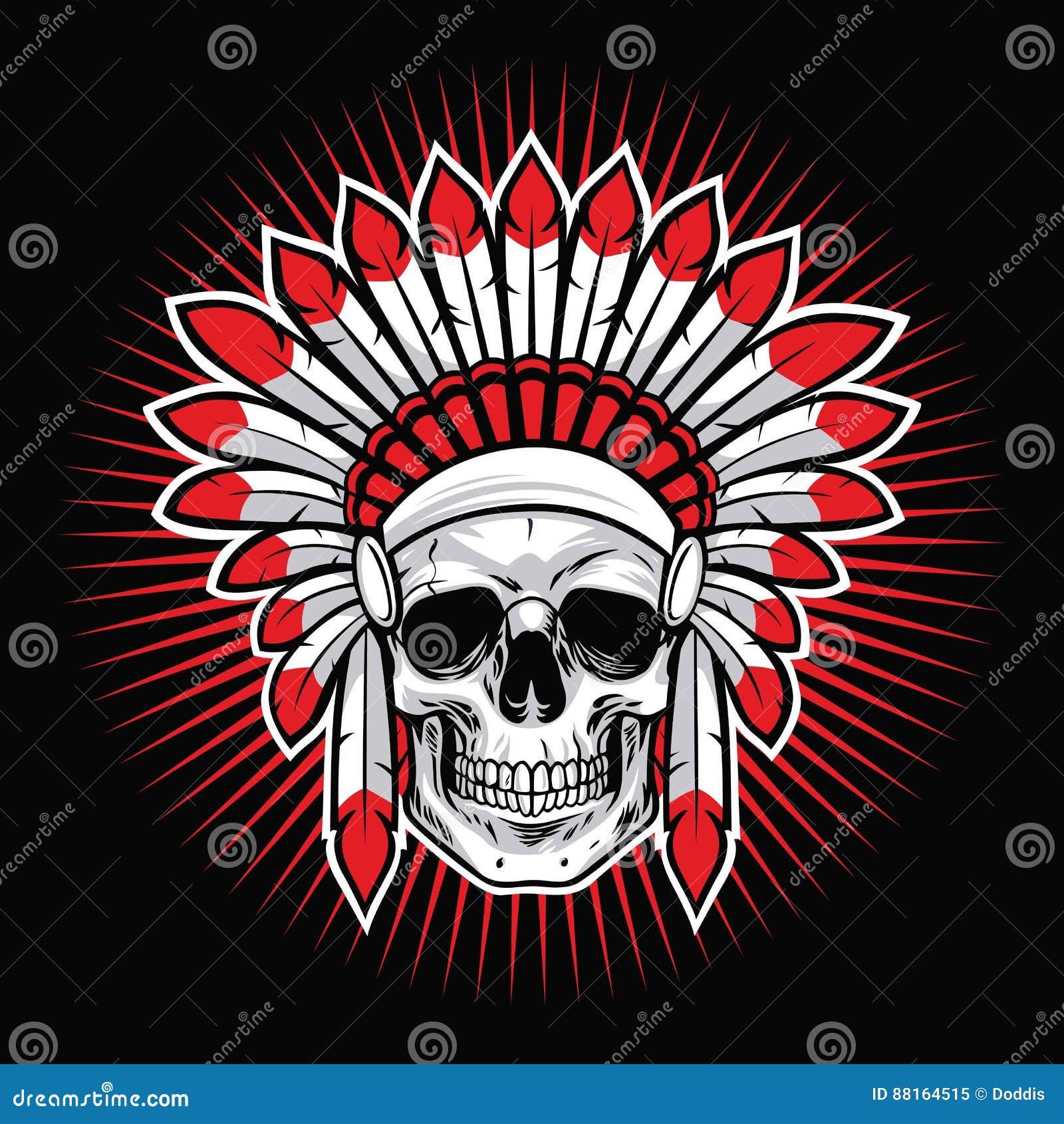 Skull Of Indian Native American Warrior Vector Stock Vector