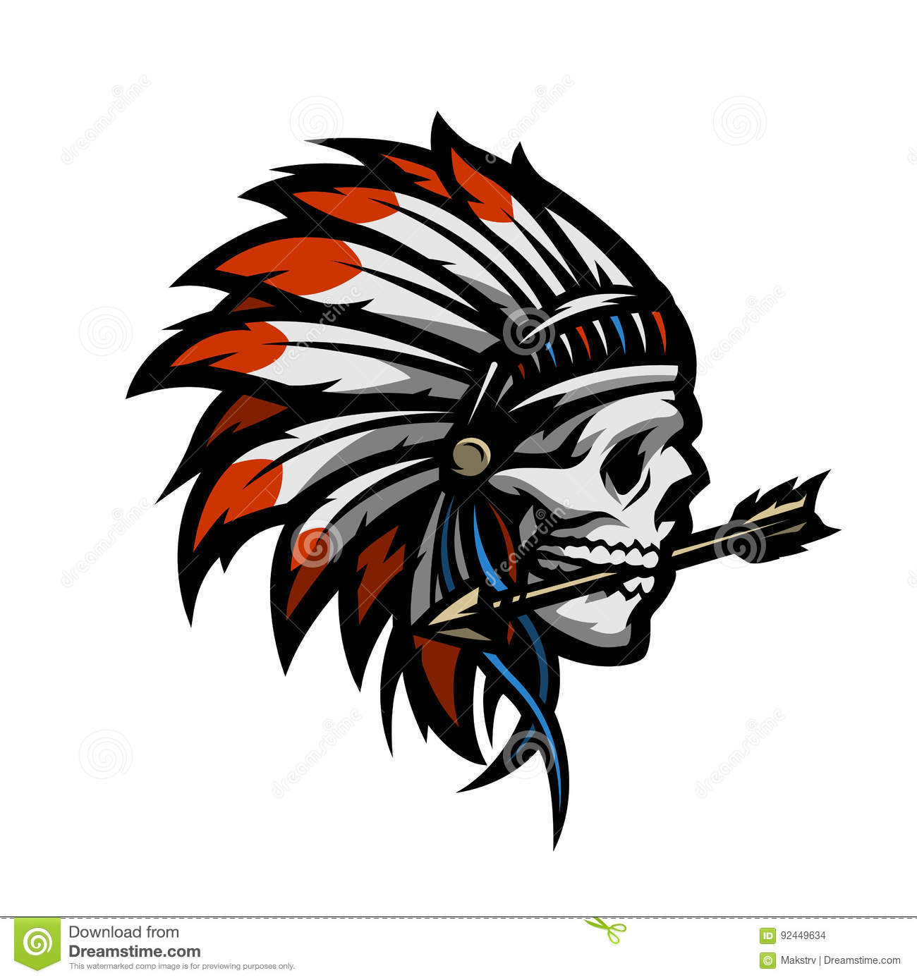 skull of an indian warrior stock vector image 92449634