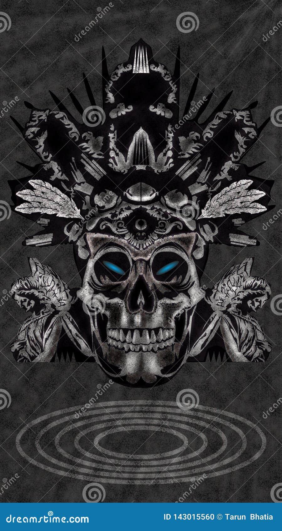 Skull King Mobile Wallpaper Design Stock Vector