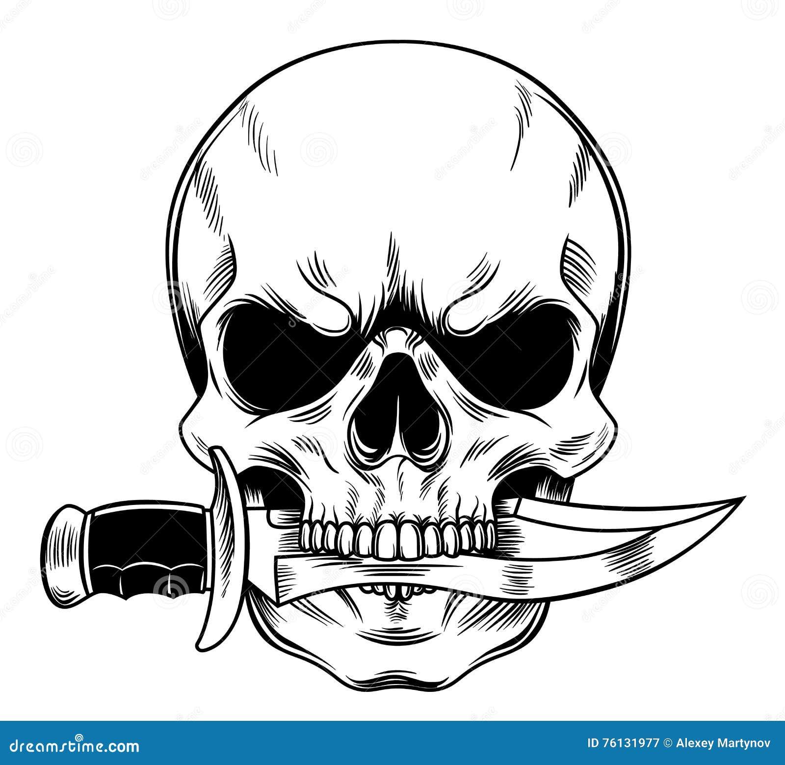 skull with a knife stock vector illustration of skeleton