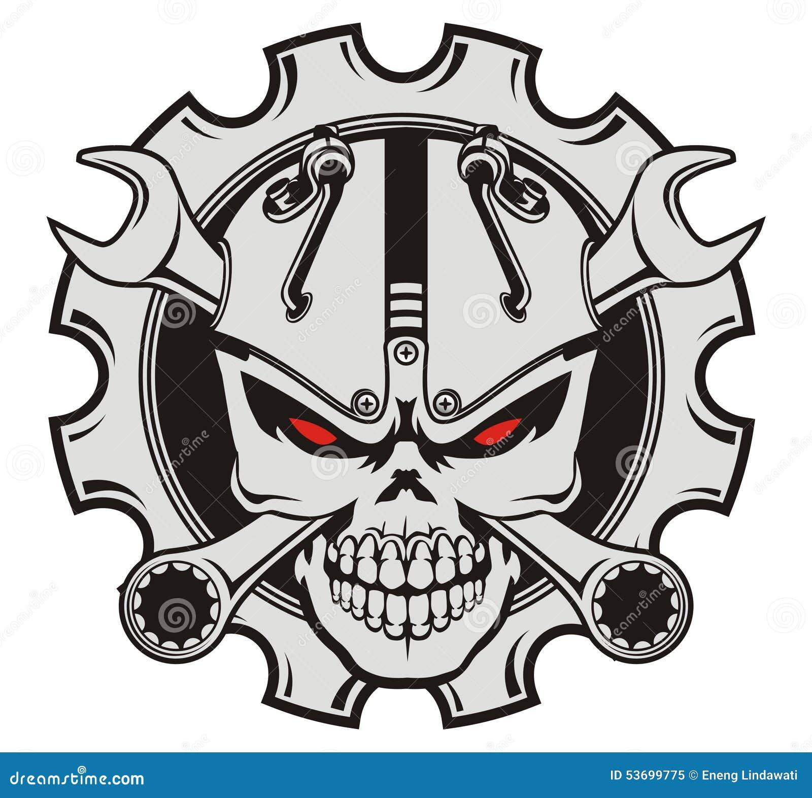 Skull Machine And Wrench Stock Illustration Image 53699775
