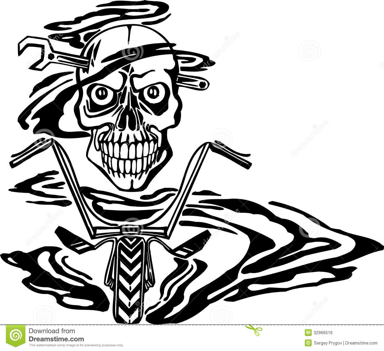 Skull And Motor Vector Illustration Stock Vector Image