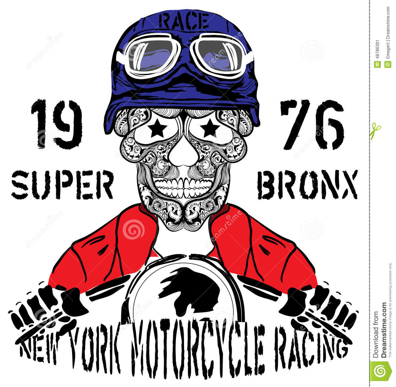 Design t shirts graphic - Skull Motorcycle New York Racing Man T Shirt Graphic Design Stock Image
