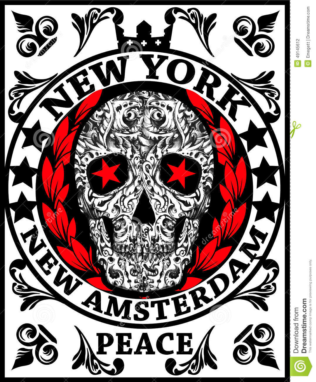 Skull New York Fun Man T shirt Graphic Design Illustration Printing ...