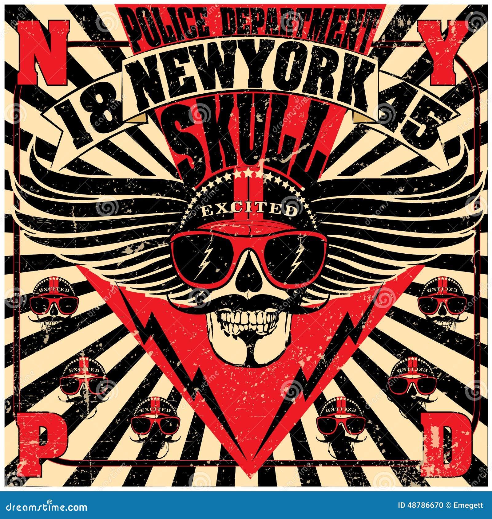 Design a t shirt nyc - Royalty Free Vector Download Skull New York Fun Man T Shirt Graphic Design