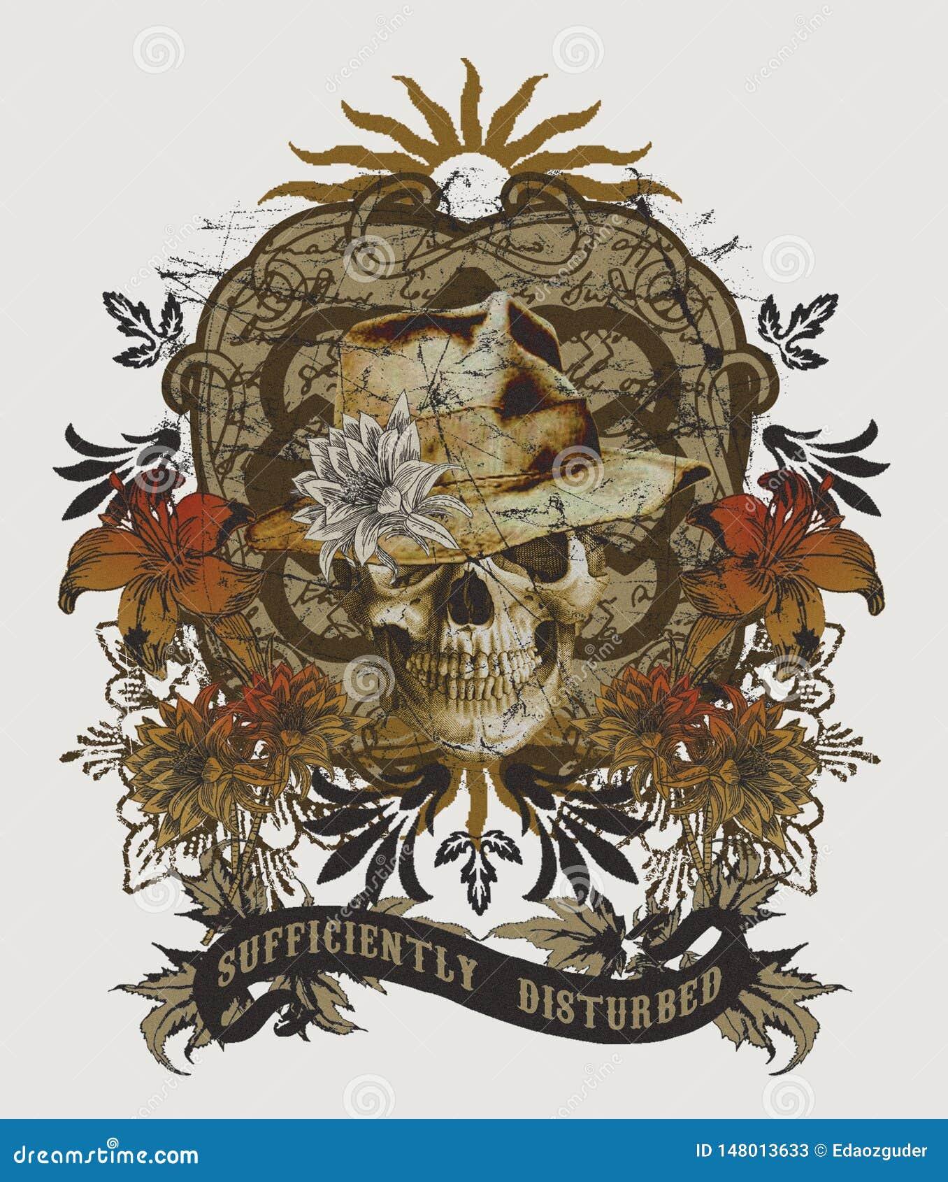 24ed9584 Skull Pattern In Ethnic Style, Tee Shirt Graphic Stock Illustration ...