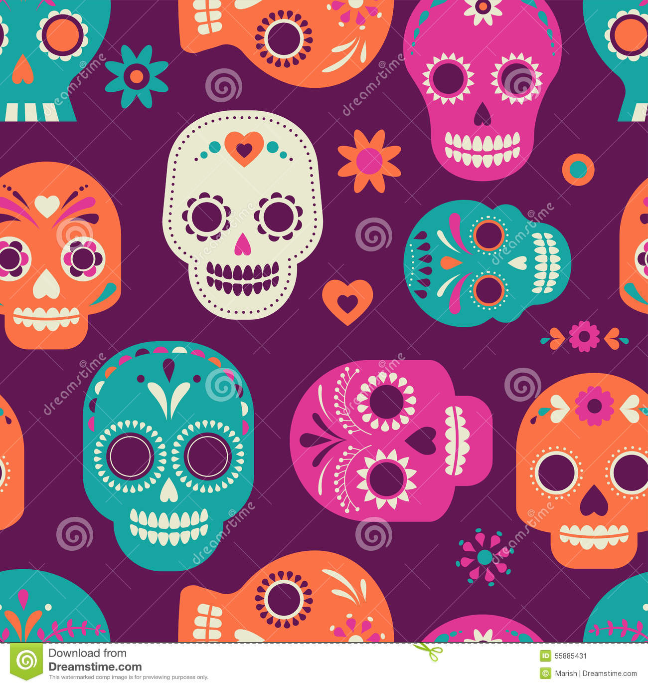 skull pattern  mexican day of the dead stock vector