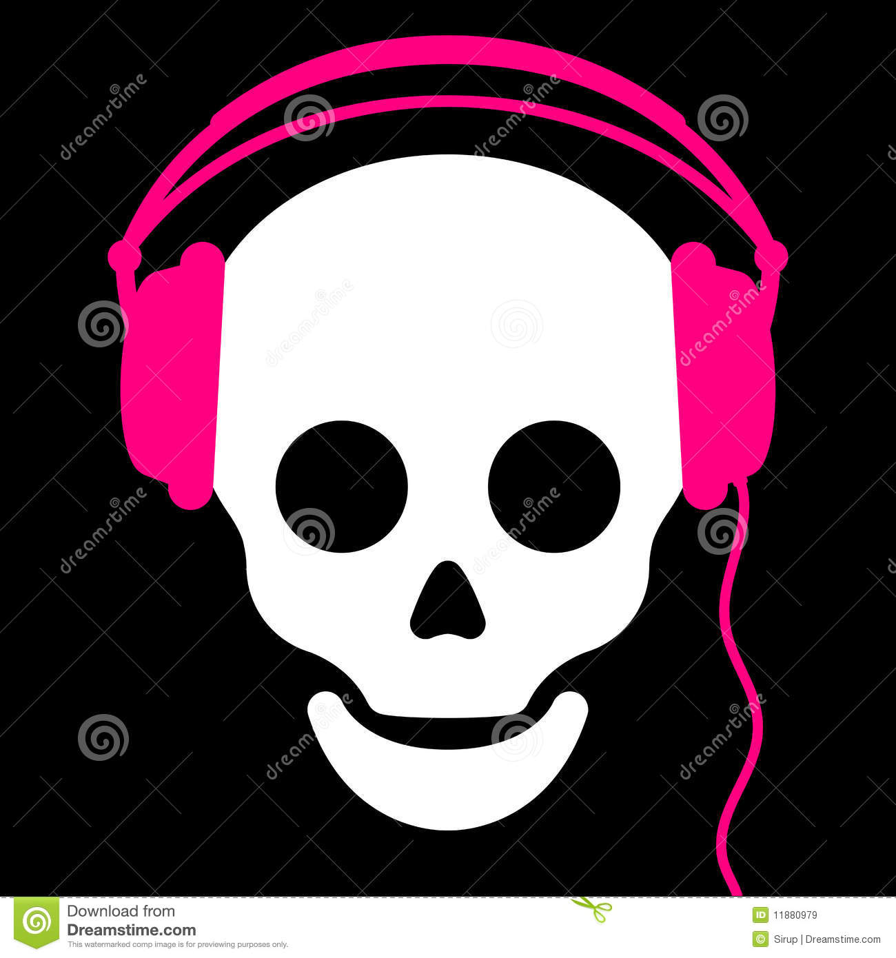 Skull With Pink Headph...