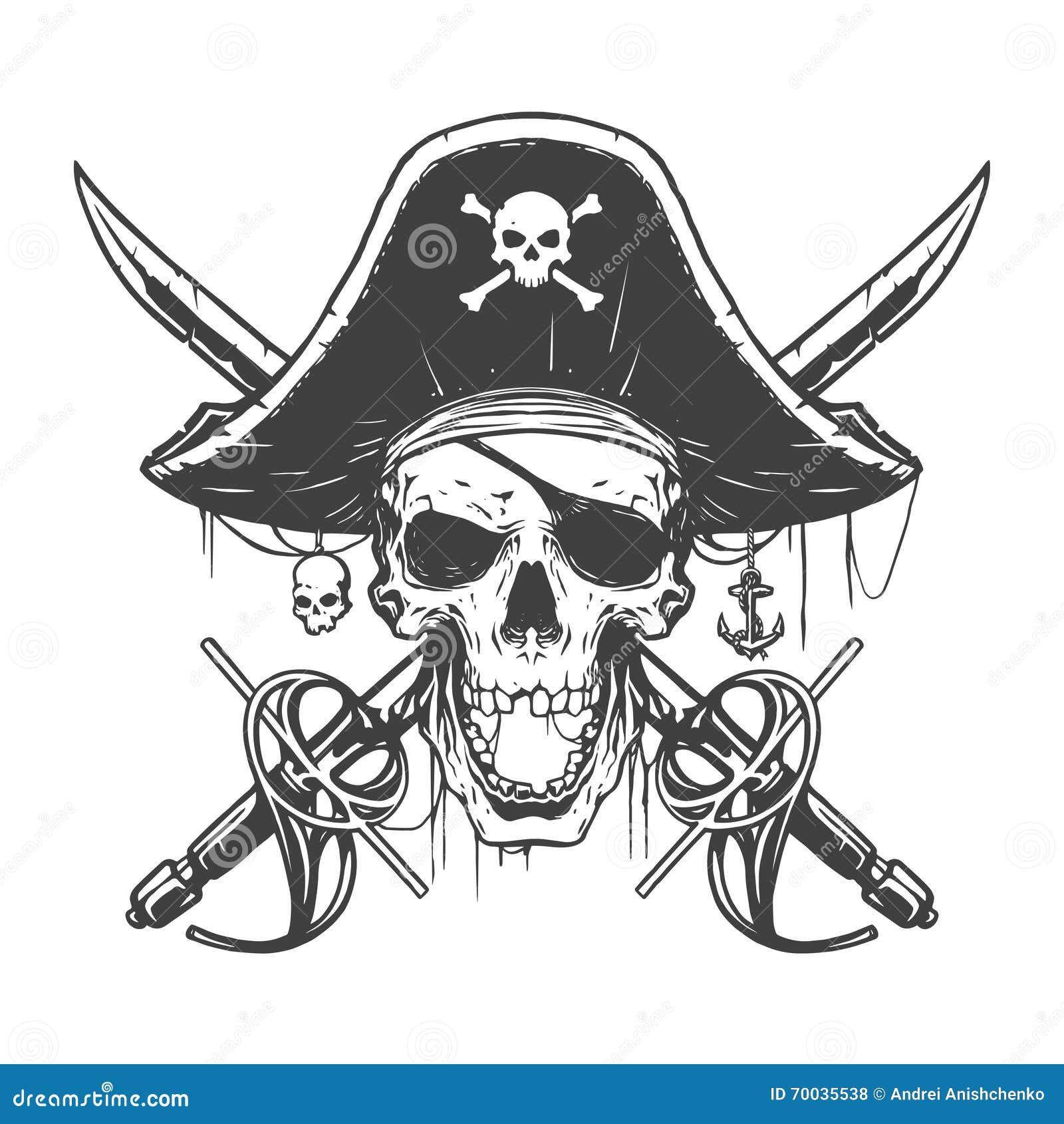 Skull Pirate Illustration Stock Vector - Image: 70035538