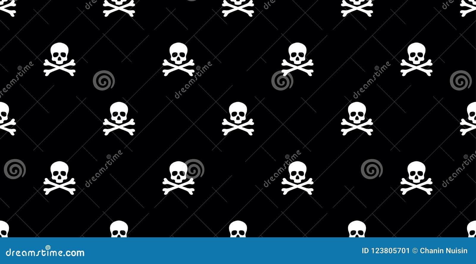 Skull Pirate Seamless Pattern Bone Isolated Wallpaper Background