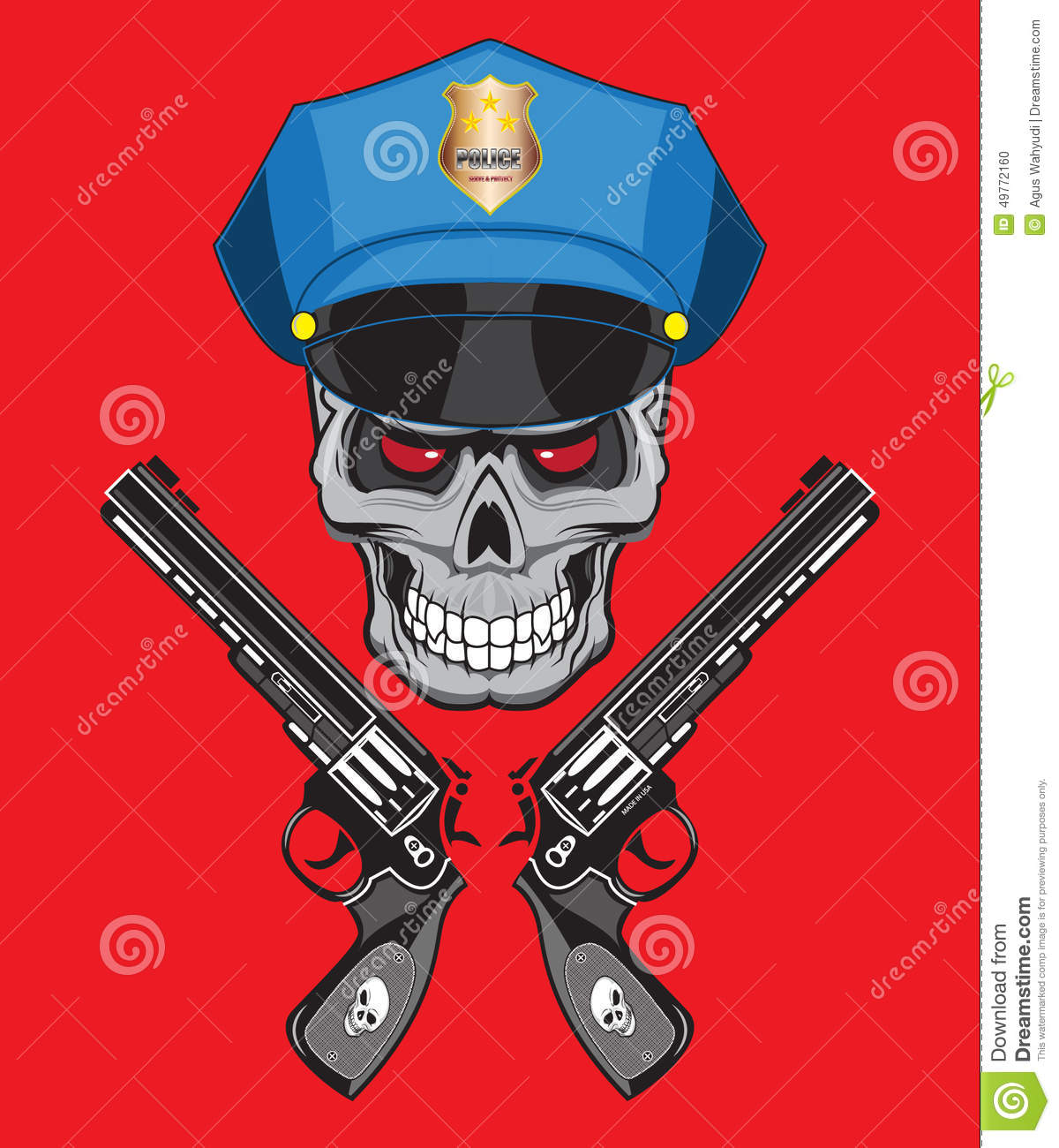 Skull Police Illustration Isolated For Tattoo Or T Shirt