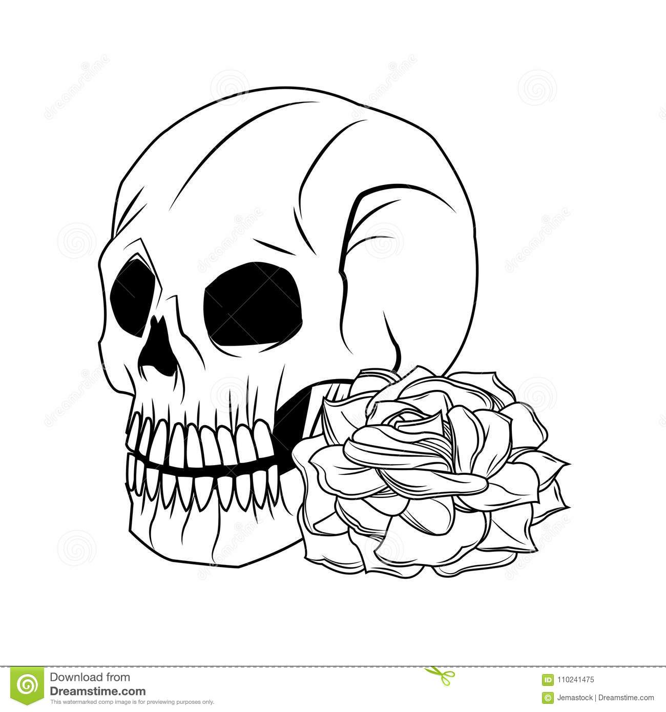 Skull And Rose Tattoo Art Design Stock Vector Illustration Of
