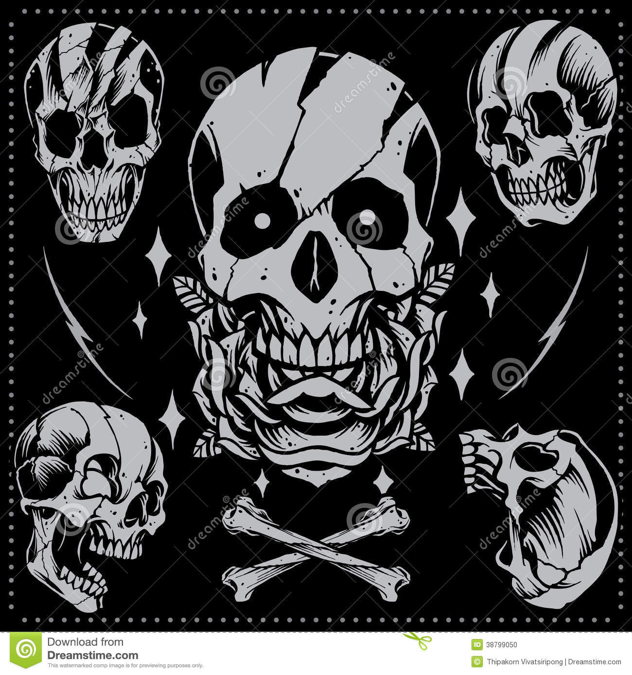 skull and rose old school style stock vector image 38799050. Black Bedroom Furniture Sets. Home Design Ideas