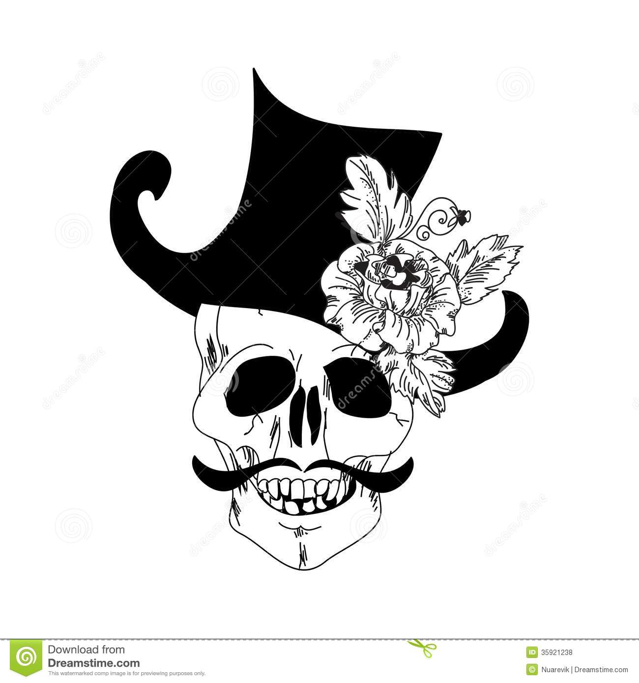 Vintage Hat Tattoos: Skull And Rose Tattoo Royalty Free Stock Photos