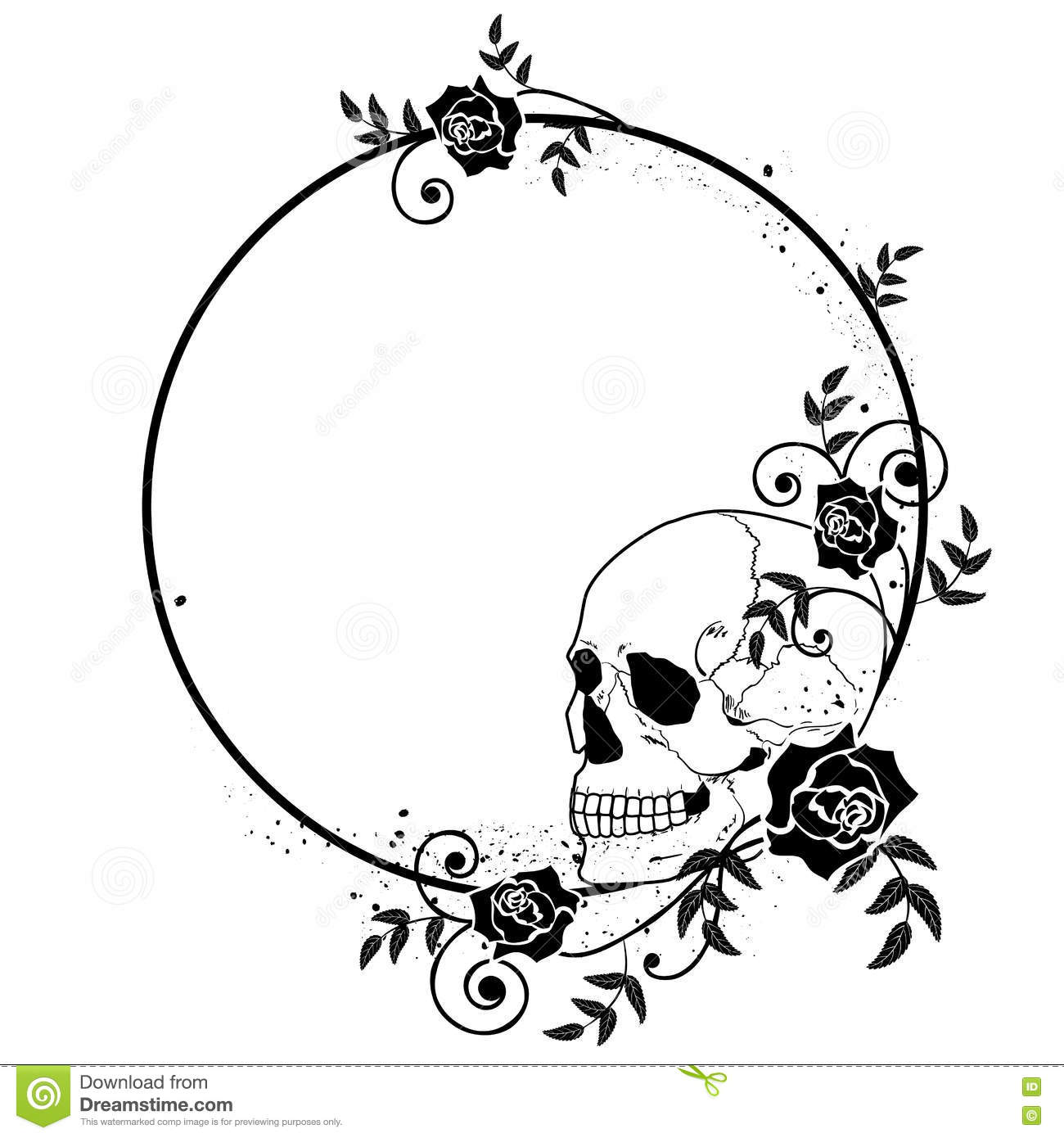 Skull and roses frame stock vector. Illustration of black - 81316835