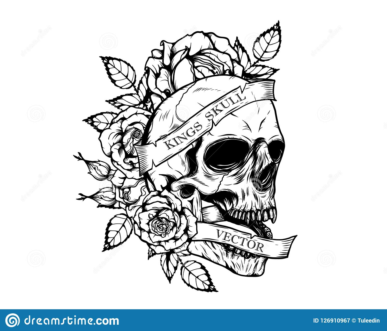Skull With Roses Tattoo By Hand Drawing Stock Vector Illustration