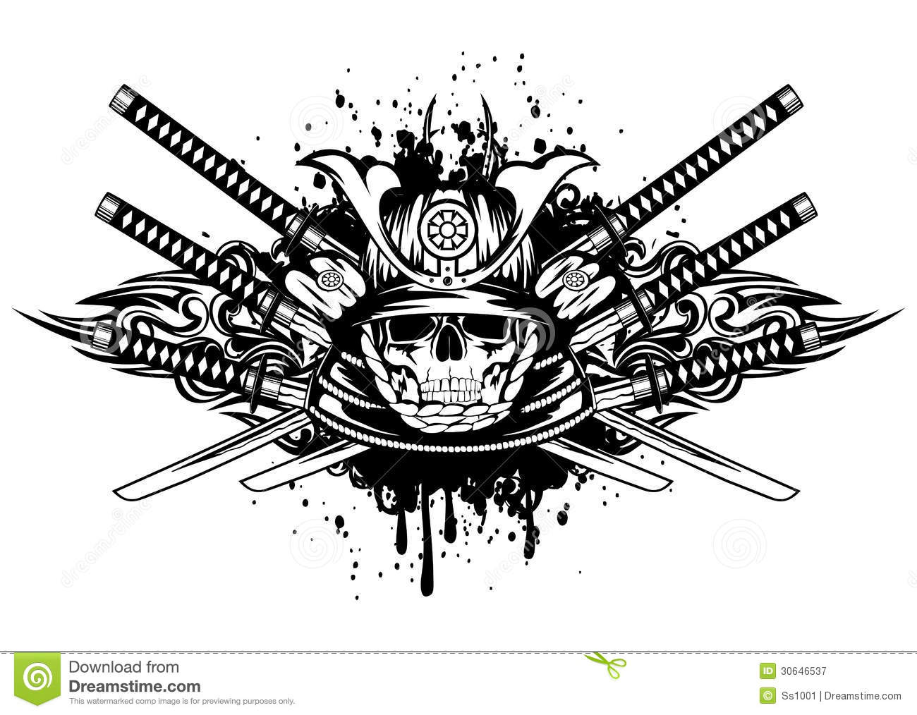 Skull in samurai helmet and crossed samurai swords
