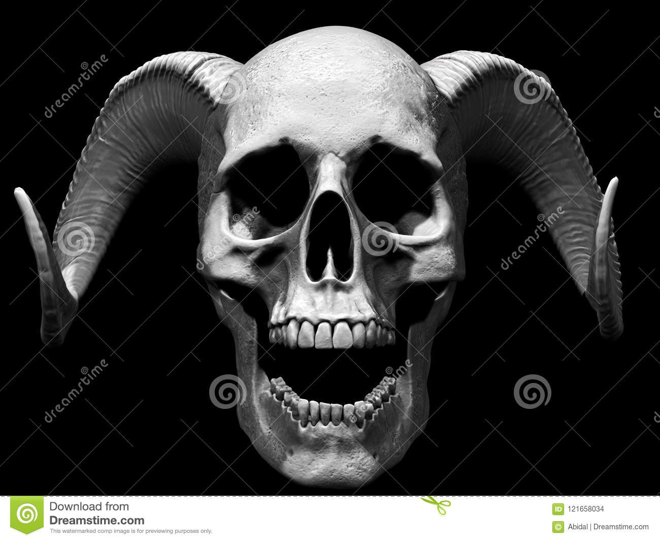 Download Skull Screaming Isolated In White Background Stock Illustration