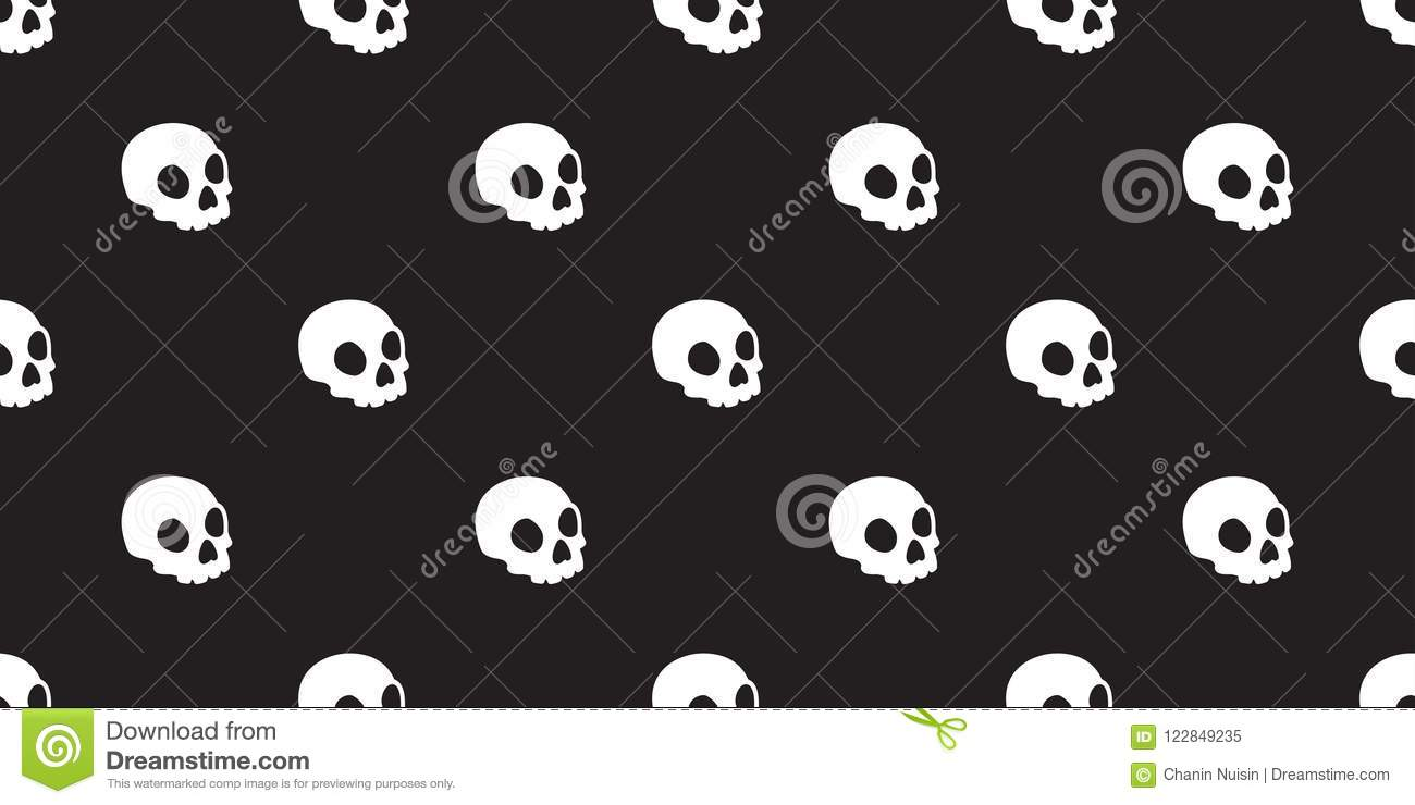 Skull seamless Halloween pattern isolated bone skeleton Ghost icon wallpaper background