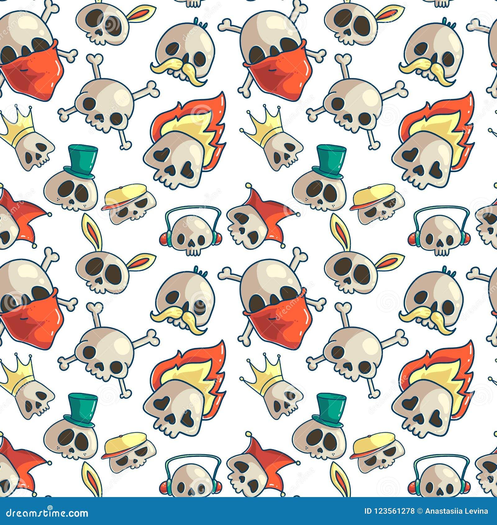 Skull Seamless Pattern Stock Vector Illustration Of Drawn