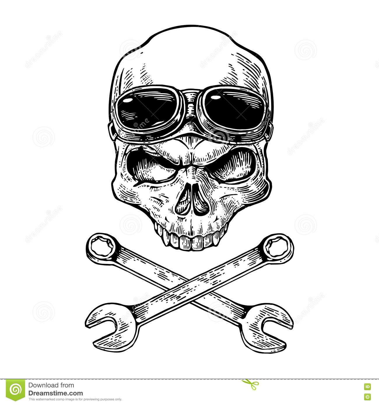 Skull Smiling With Glasses For Motorcycle On Forehead And