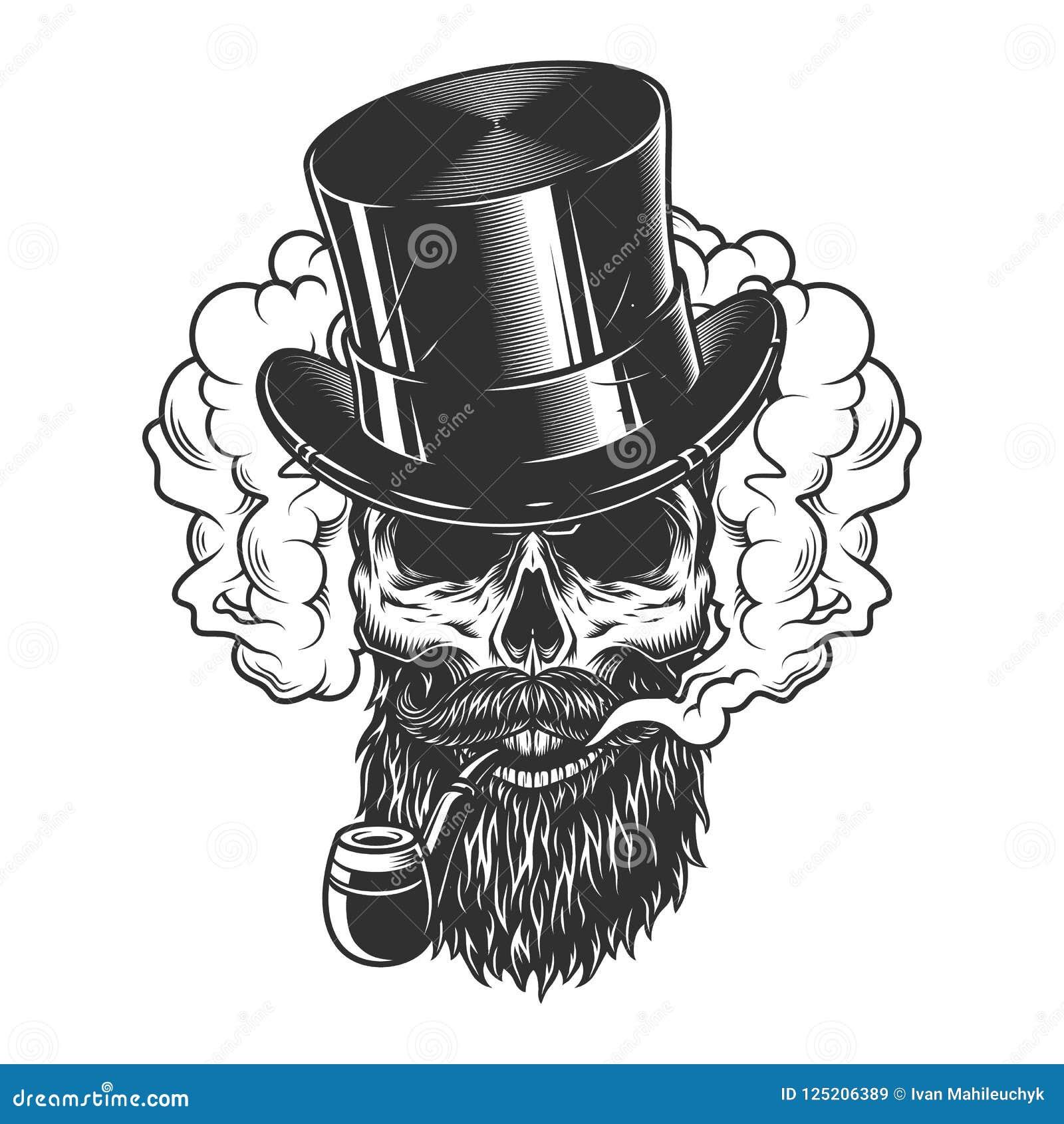 Vintage Soldier Skull In Smoke Cloud