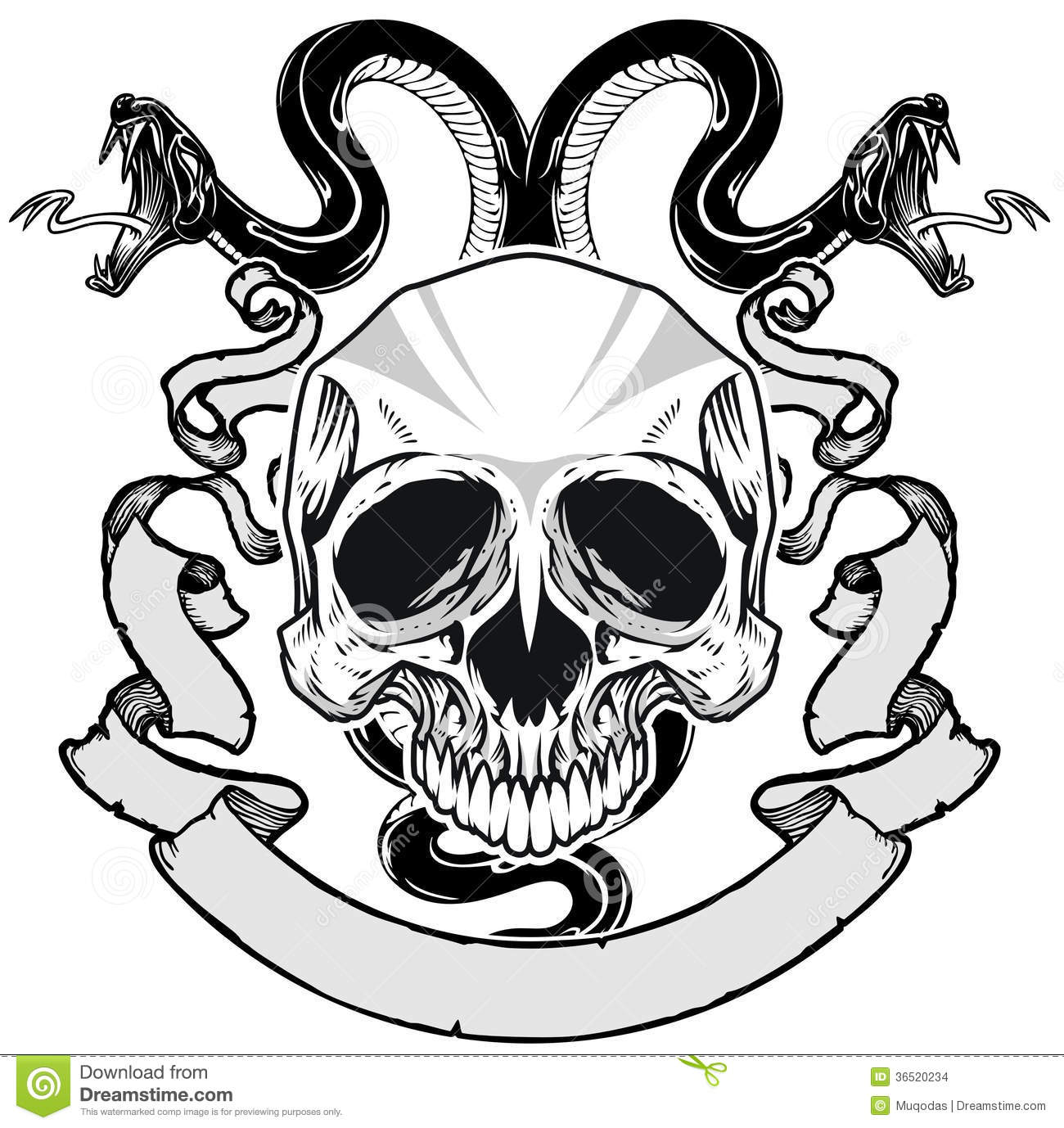 Skull And Snake Stock Vector Illustration Of Horror