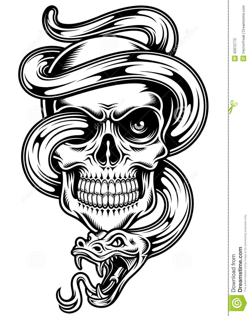 Fully editable vector illustration of skull with snake, image suitable ...