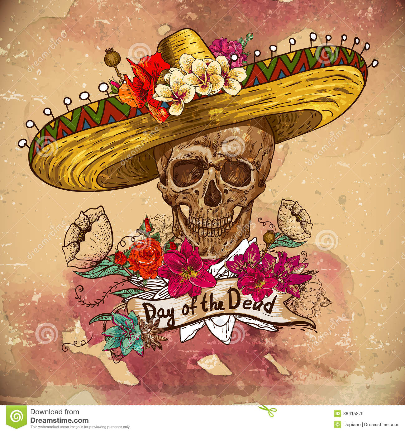 Skull in sombrero with flowers Day of The Dead. This is file of EPS10 ...