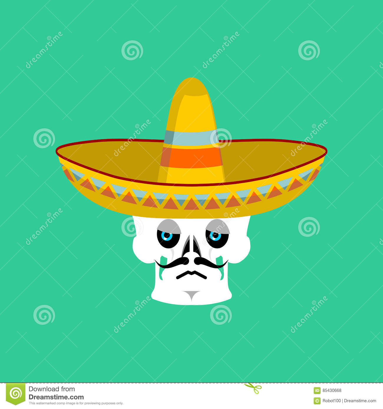 mexican skull with sombrero stock photography