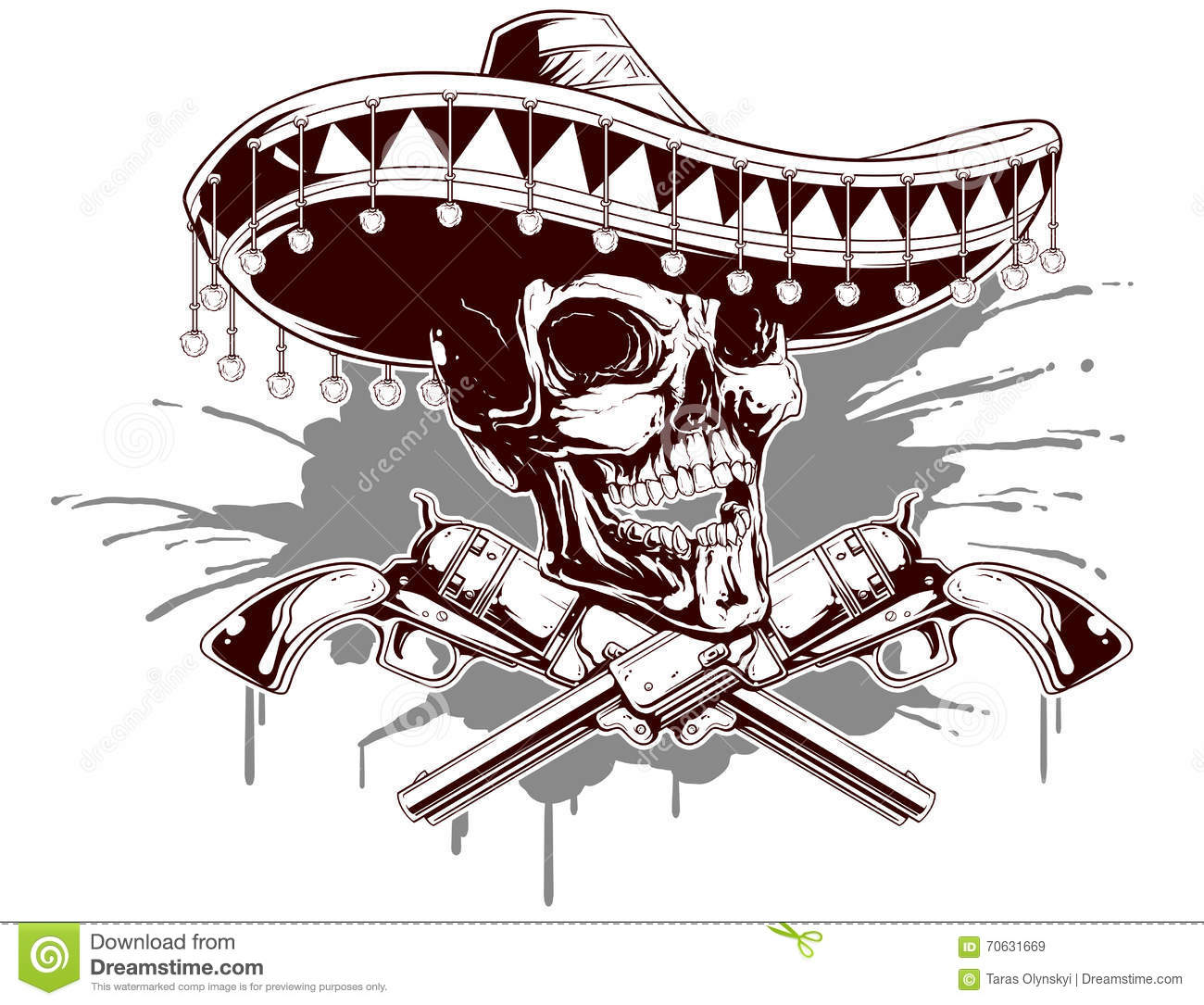 a73b762ad7878 Skull With Sombrero And Two Revolvers Stock Vector - Illustration of ...