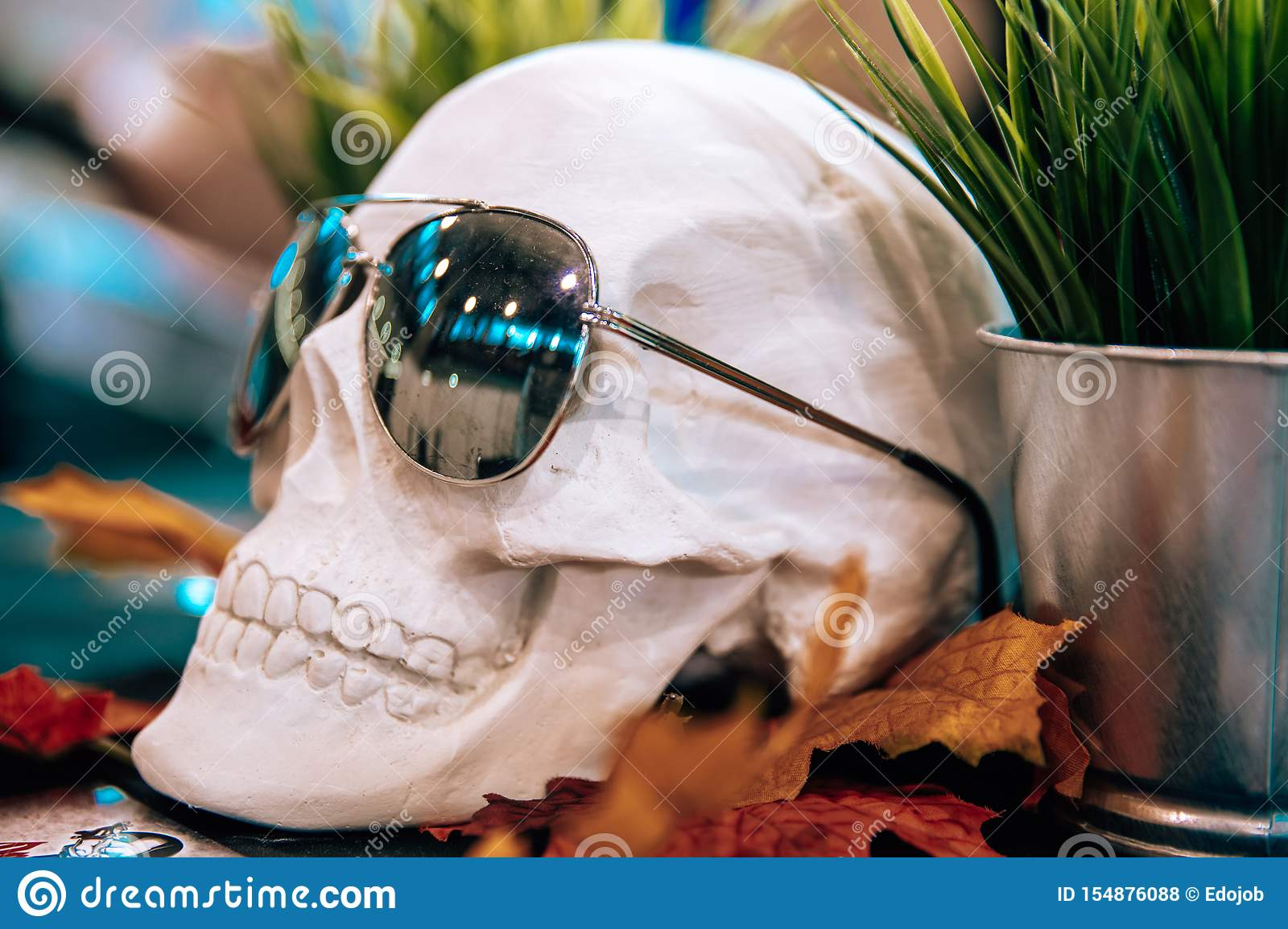 skull with sunglasses in a tattoo studio on the table