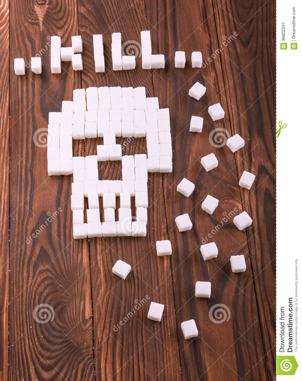 A Skull Symbol Made Of Sugar Cubes Granulated Sugar On A Dark