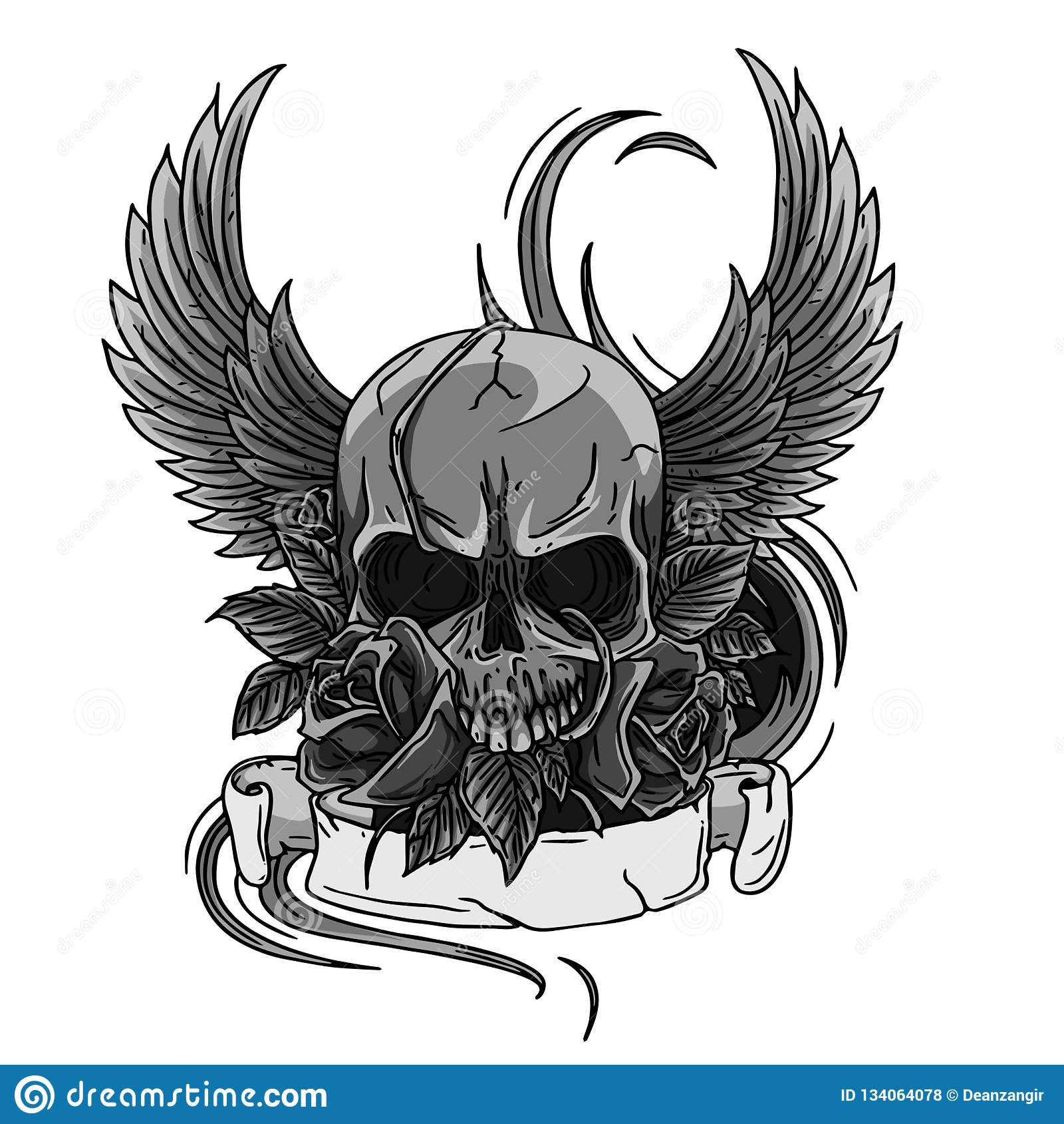 Skull Symbol Tattoo Design Crown Laurel Wreath Wings Roses And