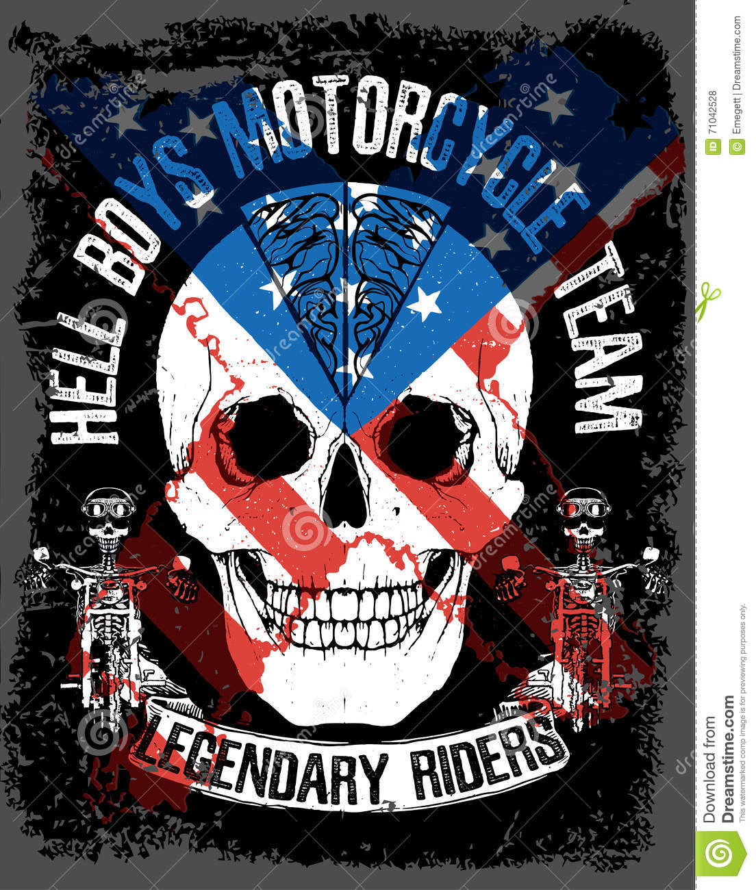 Skull T Shirt Graphic Design With Flag Stock Vector