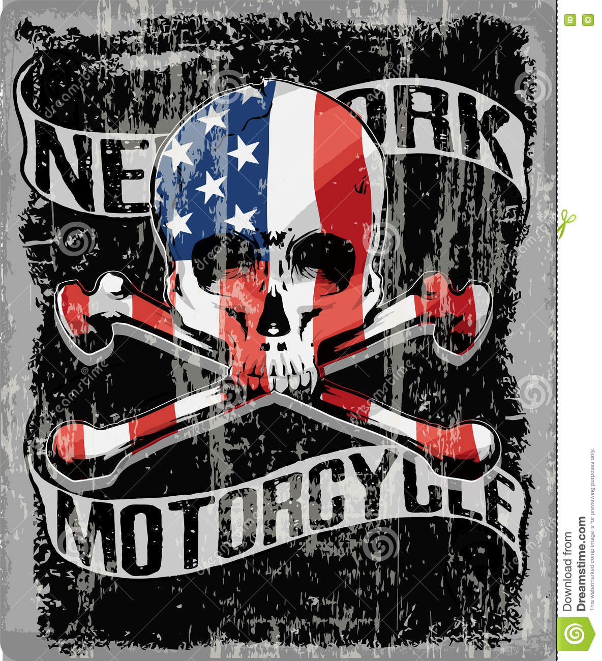 Skull T Shirt Graphic Design With Flag Stock Vector Image 72829119