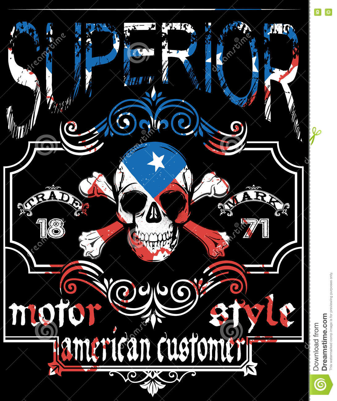 Skull T Shirt Graphic Design With Flag Stock Vector Image 73007981