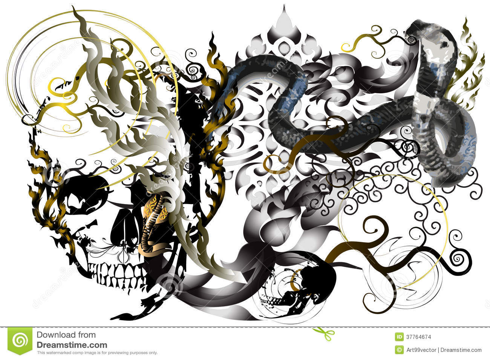 Skull and tattoo art