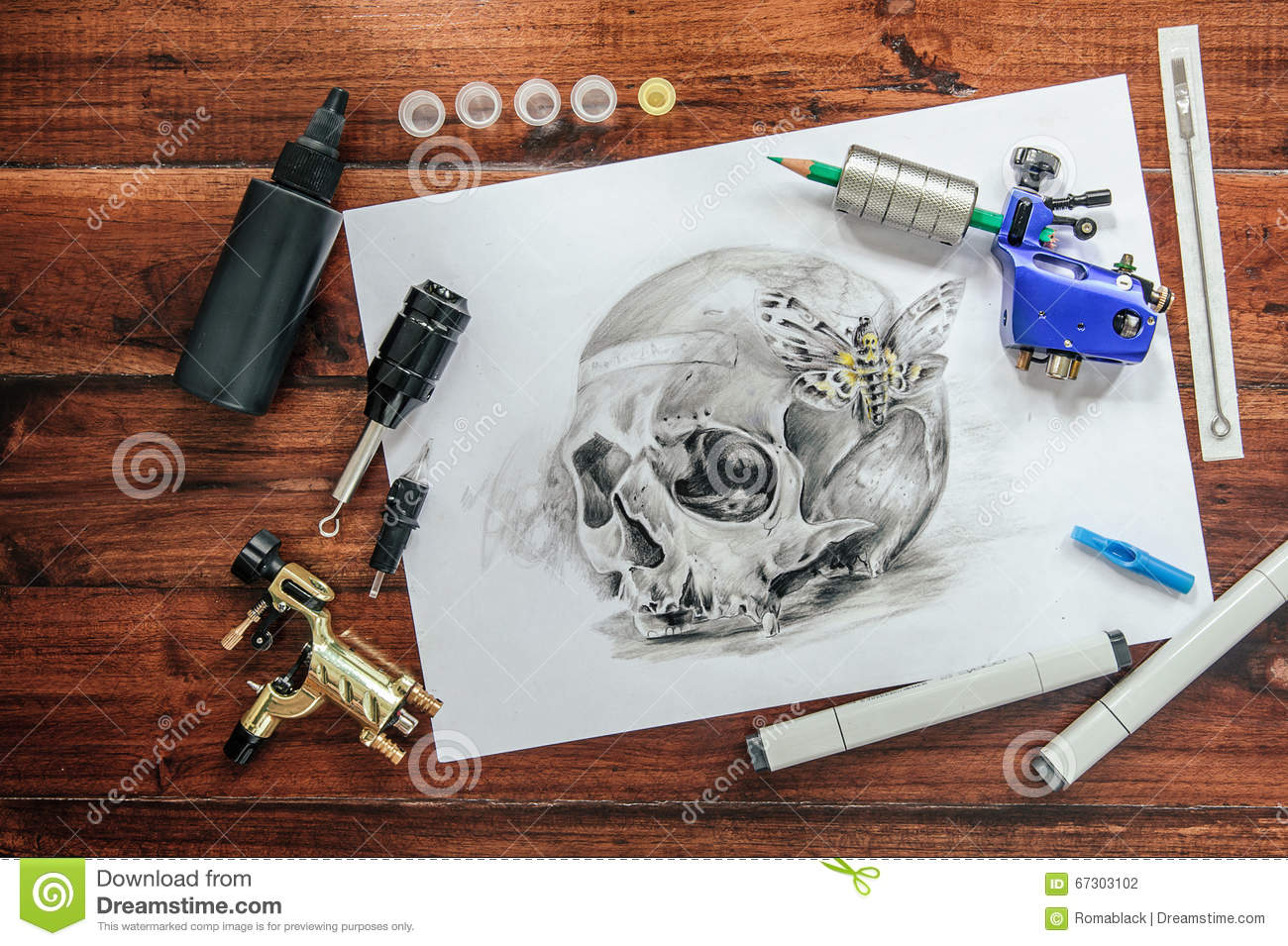 Skull tattoo sketch with rotary machines