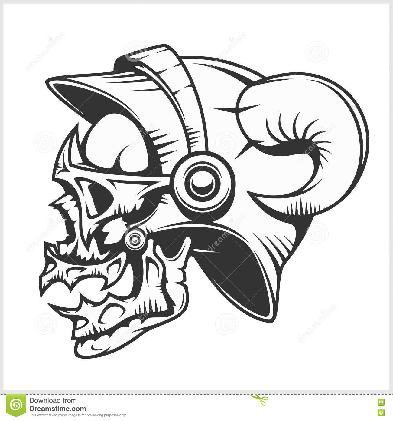 Skull tattoo and tribal design on white stock vector