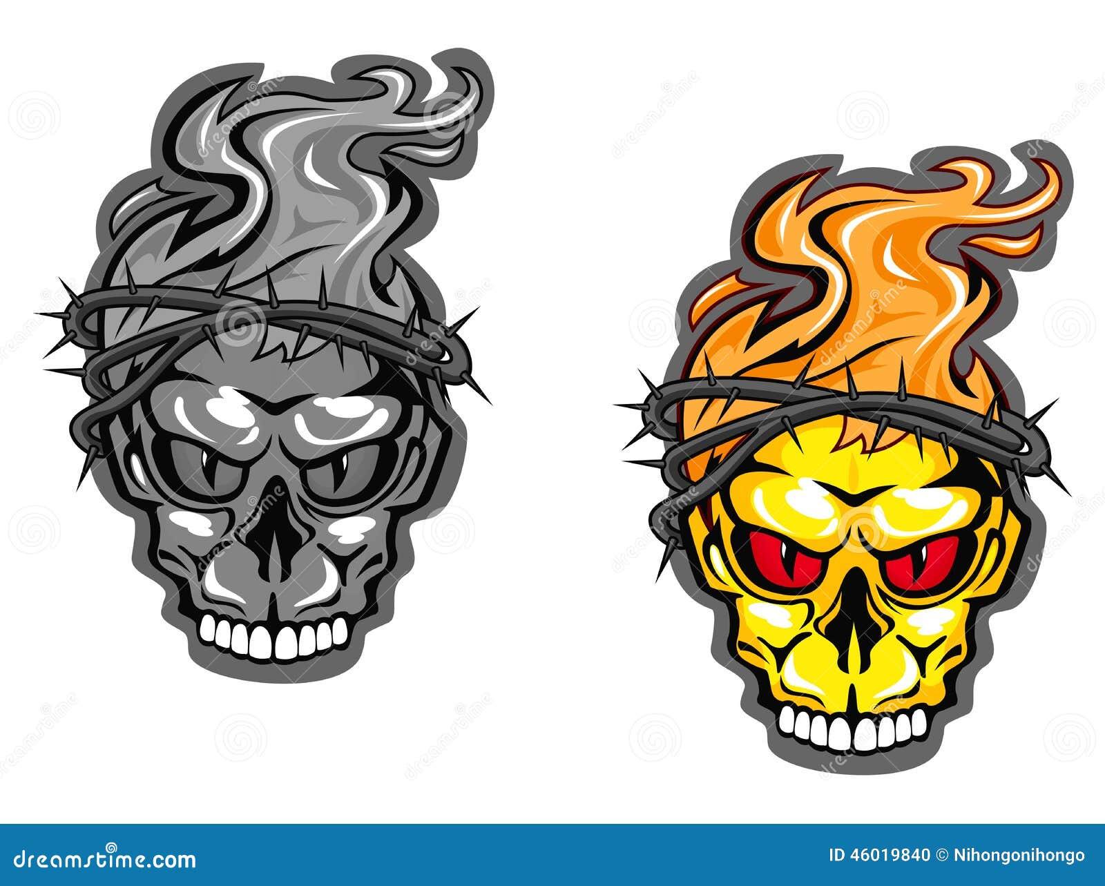 Skull tattoos stock vector. Illustration of bone, dead - 46019840