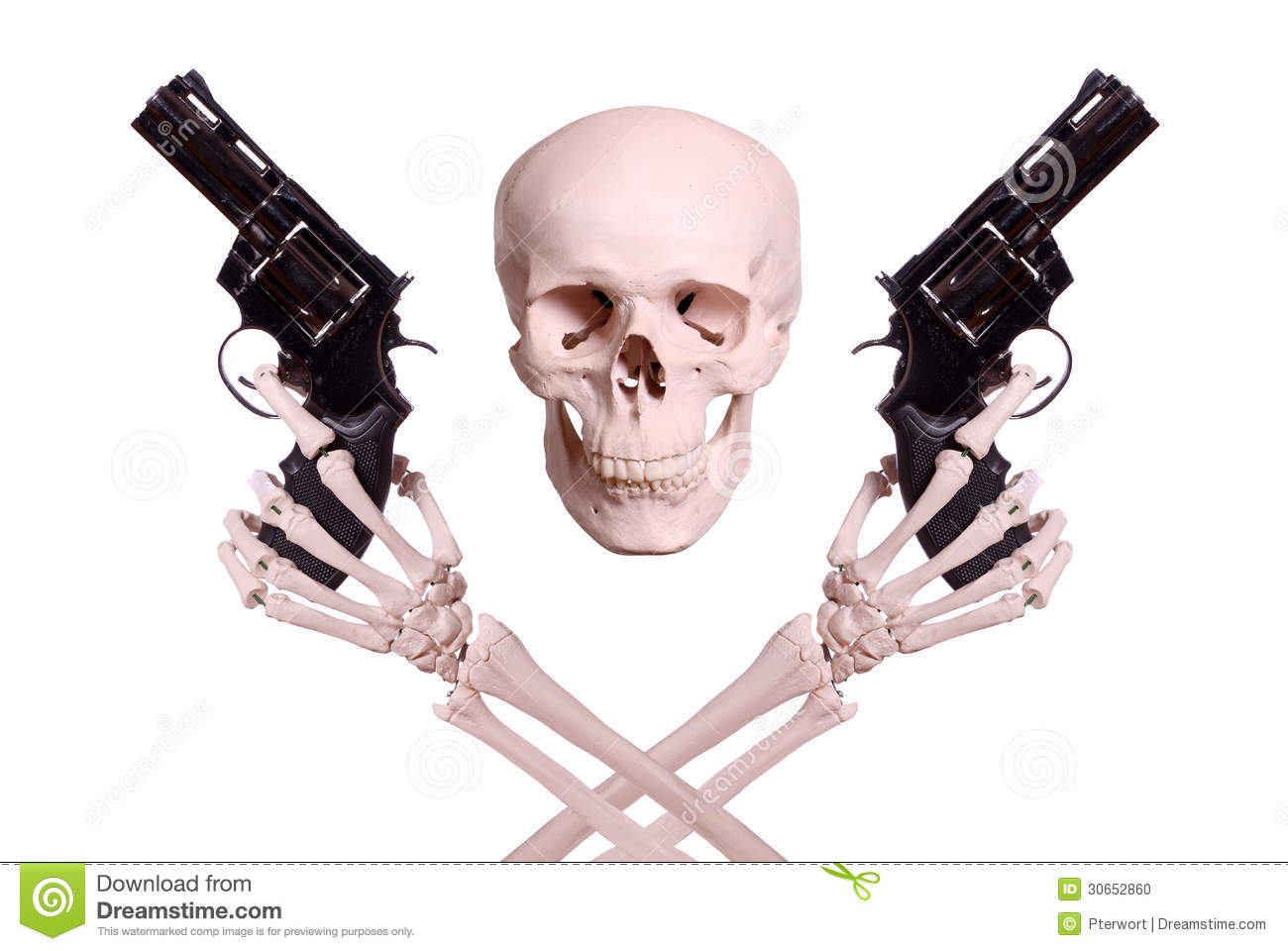 Skull With Two Skeleton Hands Holding Guns Stock Photo ...
