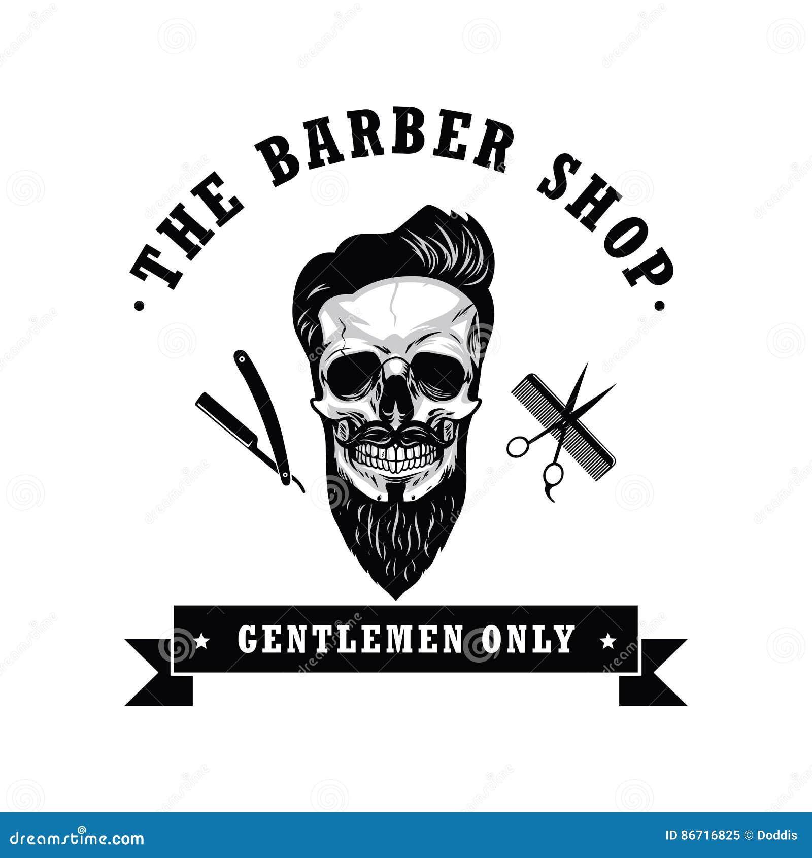 Fashion Logo Editorial Template: Skull Vintage Barber Shop Logo Design Template Vector