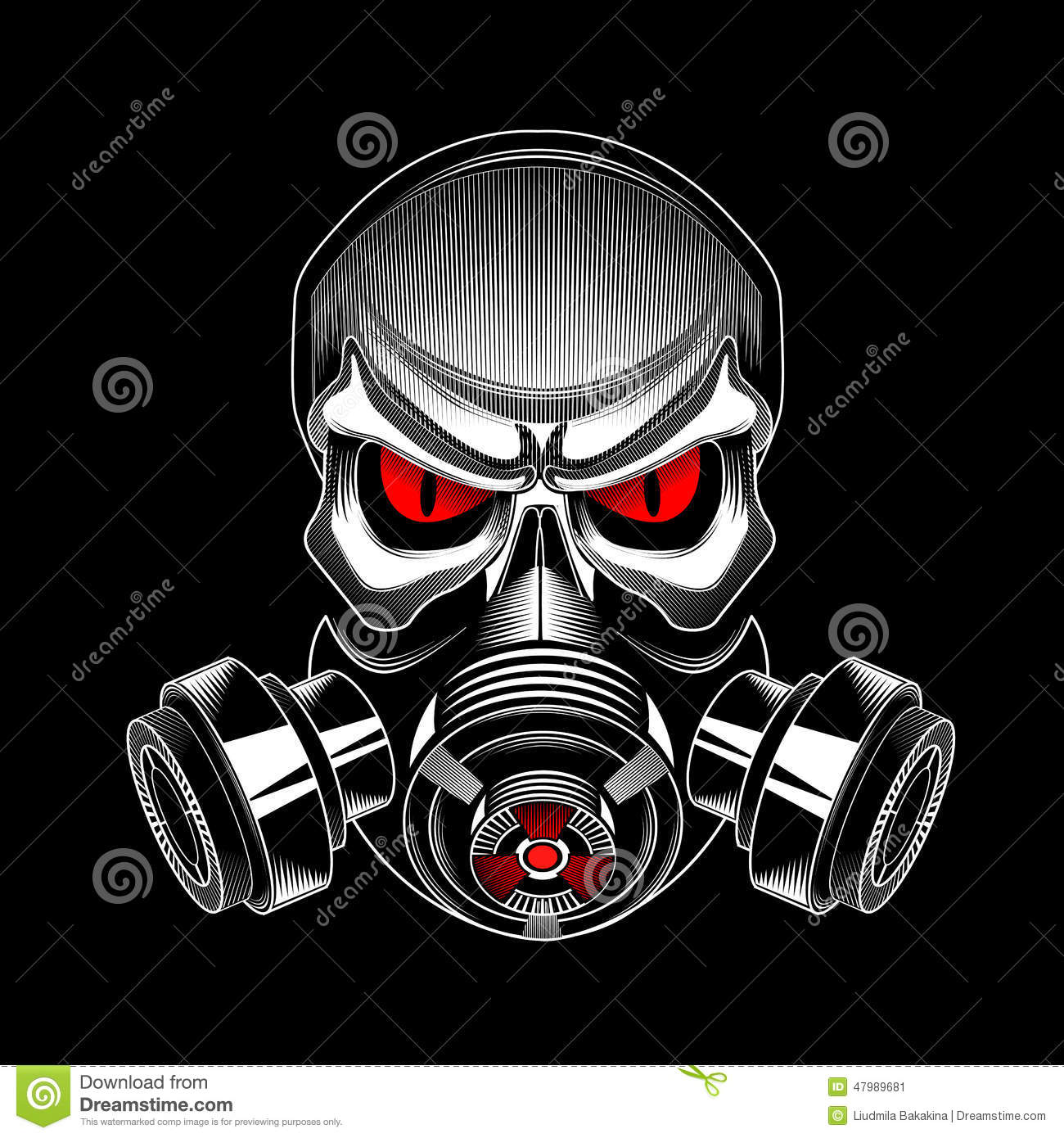 Skull Wearing A Gas Mask Stock Vector - Image: 47989681