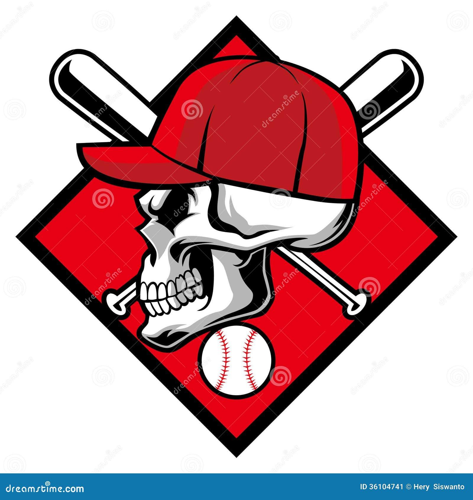 Skull Wearing Hat And Crossed Baseball Bat Stock Vector