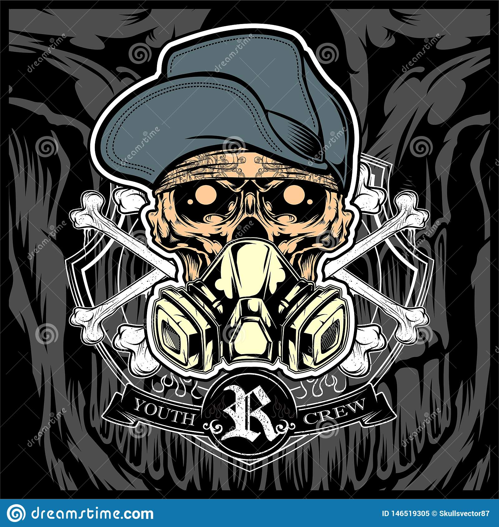 Security Hut Symbol: Gas Mask, Respirator Flat Line Icon. Vector Logo For