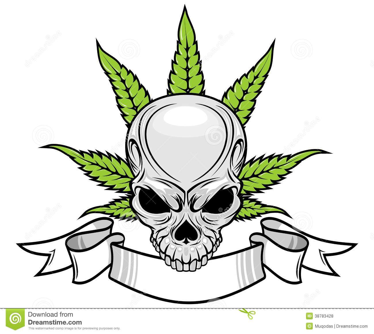 Skull And Weed Stock Vector - Image: 38783428